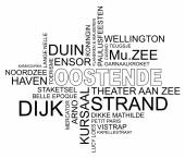 Word cloud ostend, belgium, dutch — Stock Vector
