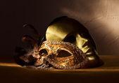 Two golden Venetian masks  — Stock Photo