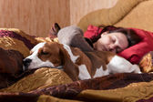 sleeping woman and its dog  — Stock Photo