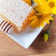 Honeycomb and yellow flowers — Stock Photo #54729845