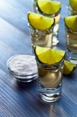 Tequila with salt and lime  — Stock Photo