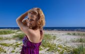 Happy woman in purple sundress  — Stock Photo