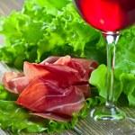 Jamon and red wine — Stock Photo #67813315