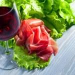 Jamon and red wine — Stock Photo #67813593