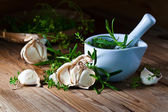 Garlic and  green spices — Stock Photo