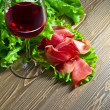 Jamon and red wine — Stock Photo #70123833