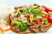 Stewed meat with vegetables .  Korean cuisine. — Stock Photo