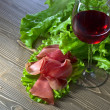 Jamon and red wine — Stock Photo #81678880