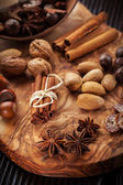 Christmas spices and baking ingredients — Stock Photo