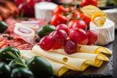 Antipasto dinner platter  — Stock Photo