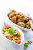 Cabbage salad with avocado and oven potatoes  — Stock Photo