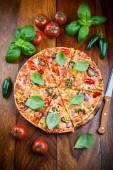 Hot chili pizza with jalapenos — Stok fotoğraf