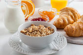 Breakfast with cereal — Stock Photo