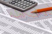 Financial business chart and budget calculation — Stock Photo