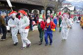Carnival parade with mask designed as mushroom — Stock Photo