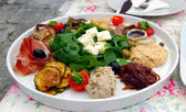 Croatian Meze Lunch, consisting of Local Feta Cheese, Humus,  Tuna Salad, Pickled Mackerel, Parma Ham, Marinated Eggplant and Onion Relish — Stock Photo