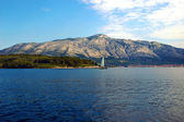 The View of the Mountains on the Mainland from the Vacation Island of Korcula, in Croatia — Stock Photo