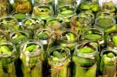 Homemade cucumbers in jars — Stock Photo