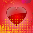 Love heart on abstract red background — Stock Vector #63485421