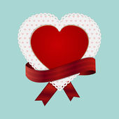 Valentine heart card and ribbon — Stock Vector