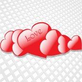 Flying hearts sur fond blanc — Vecteur