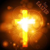Easter Cross on a golden glowing background with text — Stock Vector