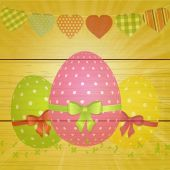 Easter eggs and bunting on wooden background — Stock Vector