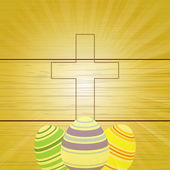 Easter eggs and Cross on wooden background — Stock Vector