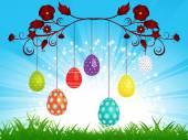 Dangling Easter eggs on blue sky landscape — Stock Vector