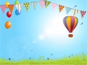 Spring landscape with air balloon and bunting — Stock Photo