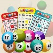 Three Bingo Cards and Bingo Balls background — Stock Photo #70657563