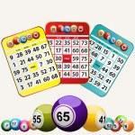 Bingo cards and set of bingo balls on white background — Stock Photo #72325567
