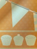Cupcakes and bunting over brownpaper background — Stock Vector