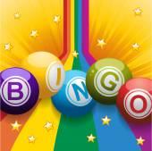 Bingo balls on rainbow and stars — Stock Vector