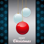 Christmas baubles over brushed metallic panel with text — Stock Vector