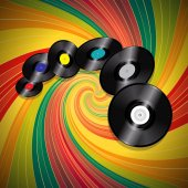 Vinyl records over multicolor vintage swirl background — Stock Vector