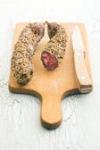 Dried sausage with peppercorn — Stockfoto
