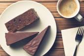 Sacher cake and coffee — Stock Photo