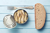 Can of sprats — Stock Photo