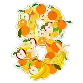 Juicy fruit in the form of number 8 — Stock Vector