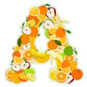 Letter - A made of fruits. Vector illustration — Stock vektor