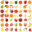 Set of colored fruits and vegetables. Vector illustration. Isola — Stock Vector #61396373
