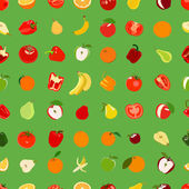 Seamless pattern with colored fruits and vegetables. Vector illu — Vettoriale Stock