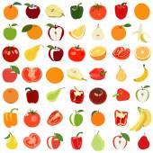 Set of colored fruits and vegetables. Vector illustration. Isola — Vettoriale Stock