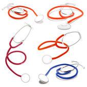 Set of Stethoscope. Vector illustration. Isolated on white — Vettoriale Stock