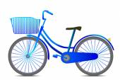 Retro style blue bicycle isolated on white background — Stock Vector