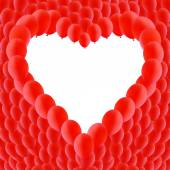 Background made of Red balloons in a heart shape — Vetorial Stock