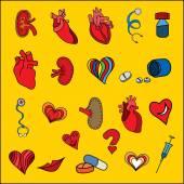 Set flat human organs icons illustration concept. Vector backgro — Vecteur