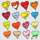 Collection of different heart symbols doodle, Different emotions — Stockvector