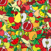 Seamless pattern with set of sweet fruits and berries. Apples, w — Stock Vector